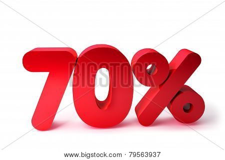 70% 3D Render Red Word Isolated in White Background