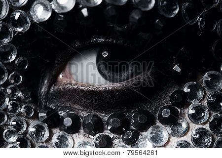 Woman Eye With Silver And Black Rhinestones