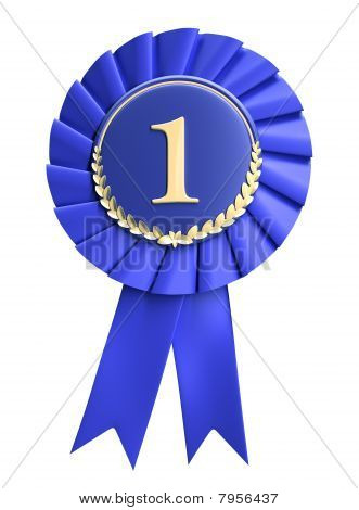 Blue ribbon award blank with copy space