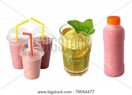 drinks, smoothies and mohito isolated on a white background