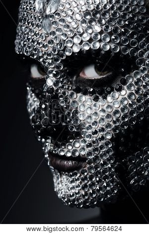 Woman With Concept Rhinestone Make-up