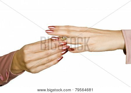 Female Hands And Ring With A Brilliant