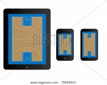 Mobile Devices With Basketball Court Black
