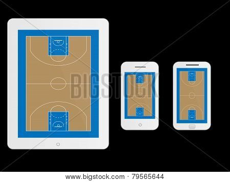 Mobile Devices With Basketball Court White