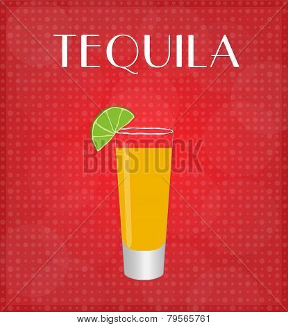 Drinks List Tequila With Red Background