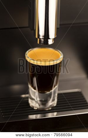 Double espresso shot from exclusive coffee machine