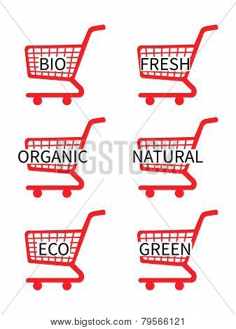Red Shopping Cart Icons With Bio Texts