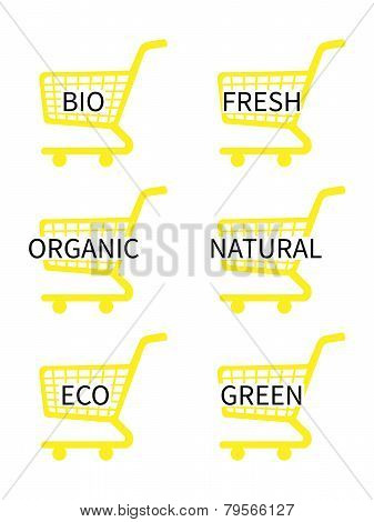Yellow Shopping Cart Icons With Bio Texts