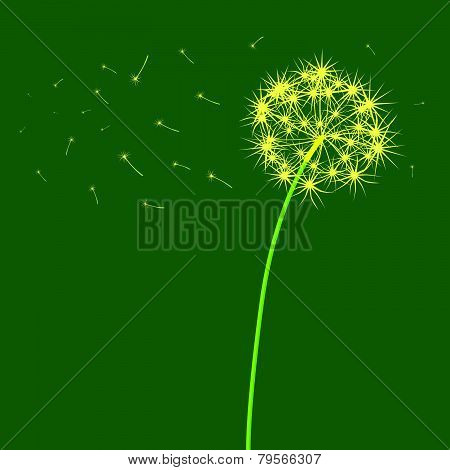 The Dandelion Which Is Blown A Wind On A Light Green Background. .eps