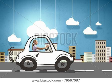 Young girl driving drawn little funny car