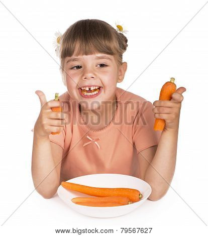 Cute little girl with the carrot
