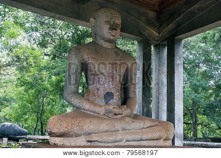Ancient 4th Century AD statue of the Samadhi Buddha in Anuradhapura Sri Lanka