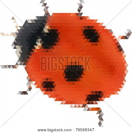 illustration with ladybird from triangles isolated on white background
