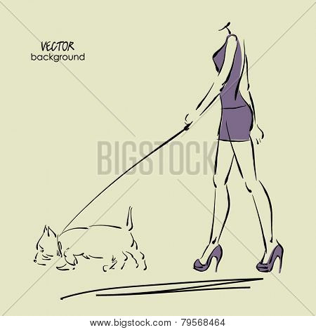 art sketch walking beautiful young women in short skirt and tank top with Scottish terrier