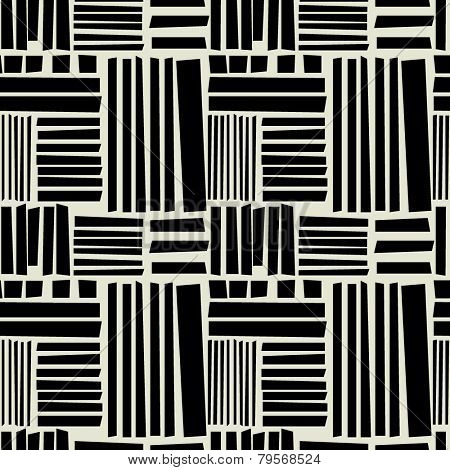 art black graphic geometric seamless pattern, square background with naive Suprematism ornament