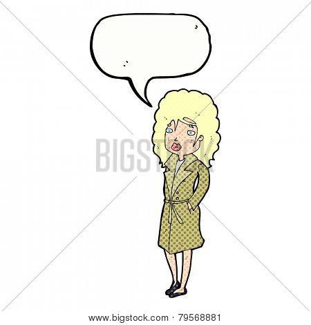 cartoon woman wearing trenchcoat