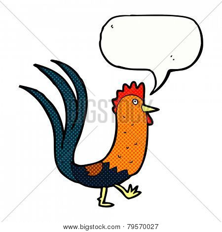 cartoon cockerel with speech bubble