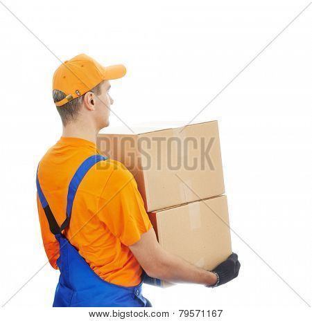 young male postal delivery courier man delivering package cardboard box