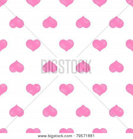 Seamless pink hearts vector background