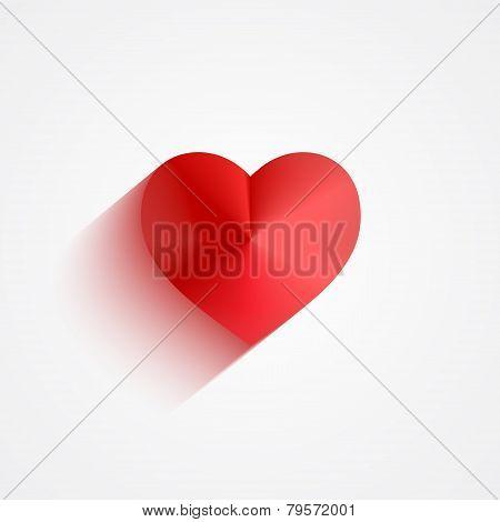 Valentine red heart flat long shadow design