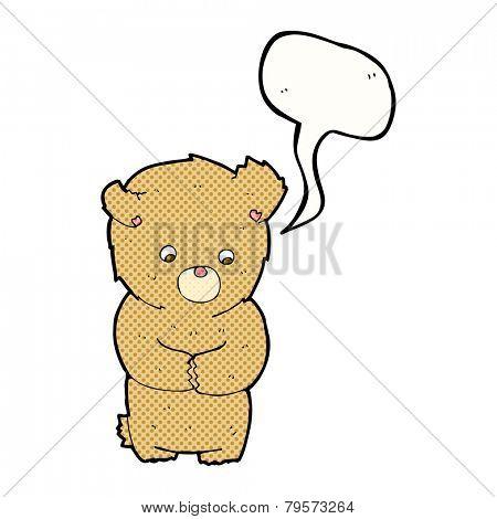 cartoon shy teddy bear with speech bubble