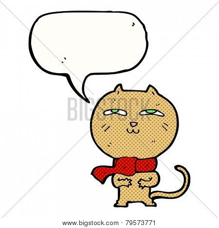 cartoon funny cat wearing scarf with speech bubble