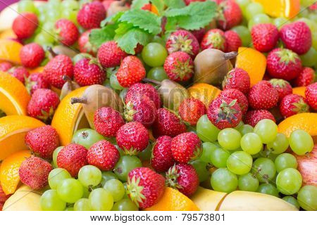 Background With Fresh Berries And Fruit