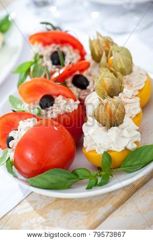 Dish With Stuffed Tomato And Peach