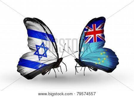 Two Butterflies With Flags On Wings As Symbol Of Relations Israel And  Tuvalu