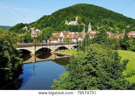 Gemünden Am Main, View On The Historic City Center And The Scherenburg, Germany