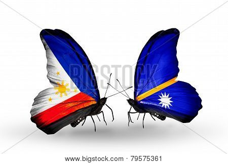 Two Butterflies With Flags On Wings As Symbol Of Relations Philippines And Nauru