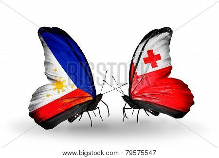 Two Butterflies With Flags On Wings As Symbol Of Relations Philippines And Tonga