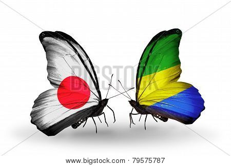 Two Butterflies With Flags On Wings As Symbol Of Relations Japan And Gabon
