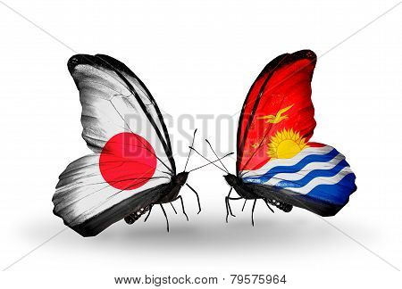 Two Butterflies With Flags On Wings As Symbol Of Relations Japan And Kiribati