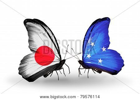 Two Butterflies With Flags On Wings As Symbol Of Relations Japan And Micronesia