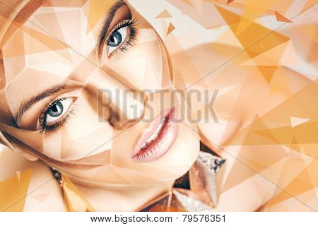 Beautiful Woman With Bodyart On Face And Geometric Shapes