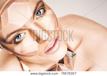 Beautiful Woman With Bodyart On Face