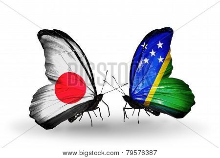 Two Butterflies With Flags On Wings As Symbol Of Relations Japan And Solomon Islands