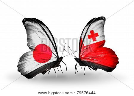 Two Butterflies With Flags On Wings As Symbol Of Relations Japan And Tonga