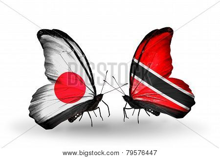 Two Butterflies With Flags On Wings As Symbol Of Relations Japan And Trinidad And Tobago