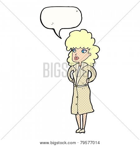 cartoon woman in trench coat with speech bubble