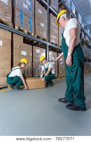 Senior Warehouse Worker Controlling Young Co-workers