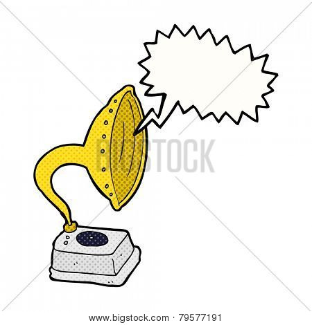cartoon phonograph with speech bubble