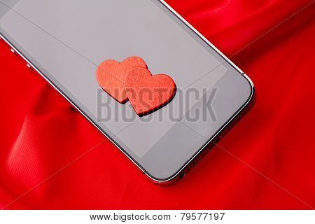 Valentines hearts with smart phone
