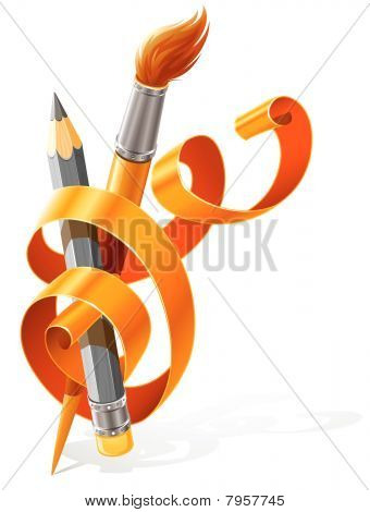 art tools pencil and brush braided by orange ribbon
