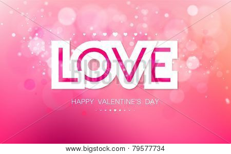 Vector paper inscription love on a pink background