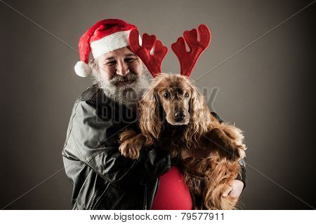 Santa Claus  With His Dog