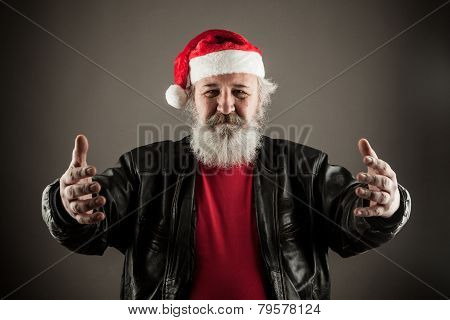 Funny Mature Man Dressed As Santa