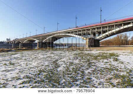 Bridge Over Vistula River In Warsaw