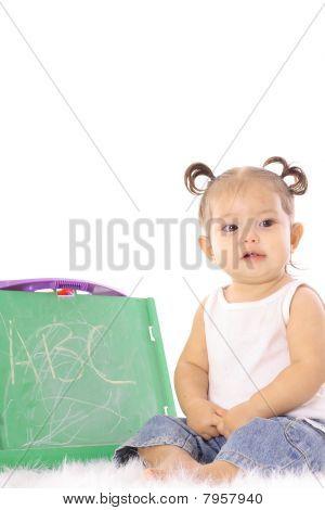 cute little baby with chalkboard